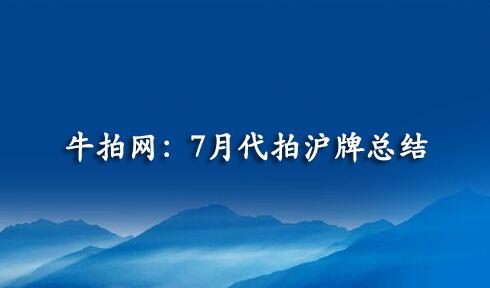 牛拍网:7月代拍沪牌总结