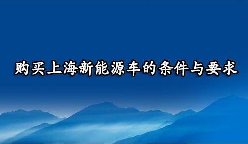 购买上海新能源车的条件与要求